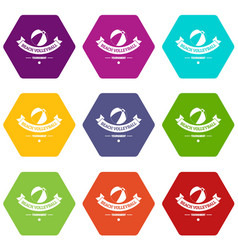 beach volleyball icons set 9 vector image