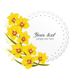 Beautiful gift card with yellow flowers vector