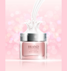 Beauty cream on pink bubbles background skin care vector