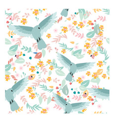 bird in the sweet pastel flower and leave vector image