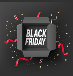 Black friday concept text in open gift box vector