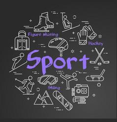 Black sport line concept - square web banner vector