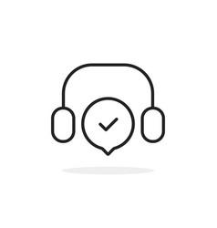 Black thin line headset like callcenter vector