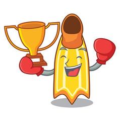boxing winner swim fin mascot cartoon vector image