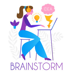 brainstorm team working creating idea online vector image