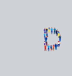 Business people crowd forming shape letter d vector