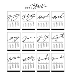 calendar 2019 in black and white colors in vector image