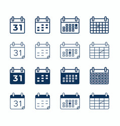 calendar web icons day date and month agenda vector image