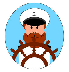 captain ship on white background vector image