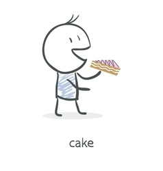 Cartoon boy eating cake vector image