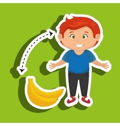 Cartoon boy peach fruit vector