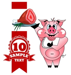 Cartoon cheerful pig with ham vector