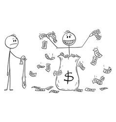 Cartoon man politician or businessman throwing vector