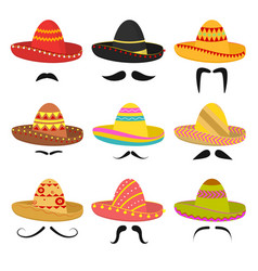 cartoon mexican sombrero hat signs icon set vector image