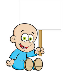 Cartoon smiling baby holding a s vector