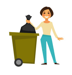 cheerful woman throws away garbage bag in special vector image