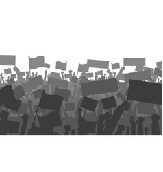 cheering or protesting crowd with flags vector image