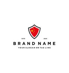 China flag shield logo design vector