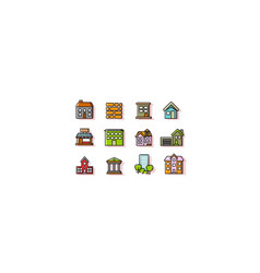 colorful construction icon sets vector image