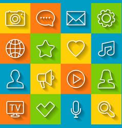 communication flat icon set vector image