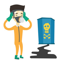 Concerned man in radiation protective suit vector