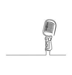 Continuous one line drawing a microphone vector