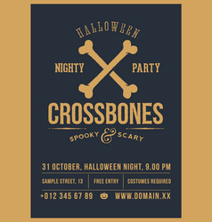 Crossed bones halloween party abstract vector