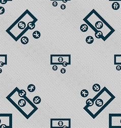 currencies of the world icon sign Seamless pattern vector image
