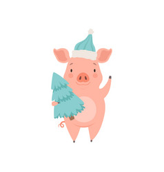 cute little pig wearing santa hat standing vector image