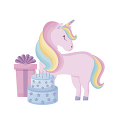 Cute unicorn with cake birthday and gift box vector