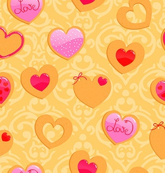 cute yellow seamless Valentines Day pattern with vector image
