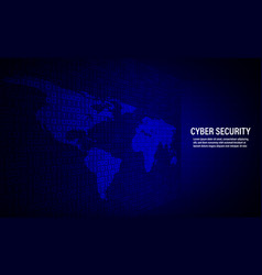 cyber security concept on binary code background vector image