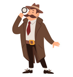 Detective or spy with magnifying glass agent job vector