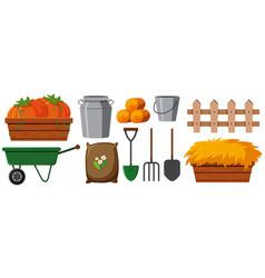 Different gardening equipments on white background vector