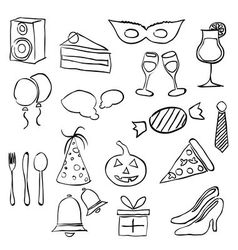 Doodle party images vector