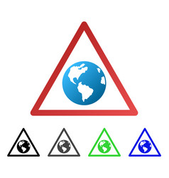 Earth warning flat gradient icon vector
