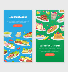 european dishes and desserts landing page vector image