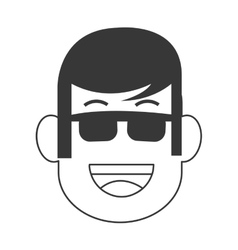 Face of man with sunglasses icon vector
