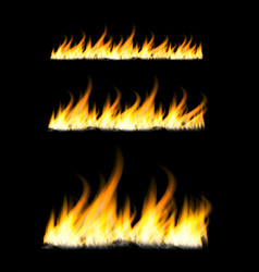 fiery flames on a dark background fire bonfire vector image