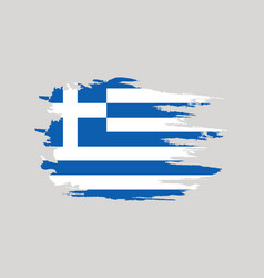 flag of greece brush painted flag of greece hand vector image