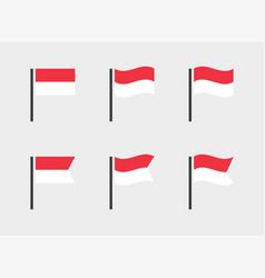 Flag republic indonesia icons set vector