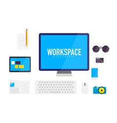 flat design workspace background vector image