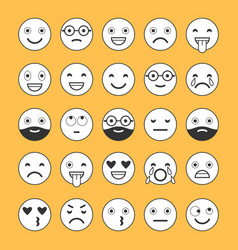 flat icons of emoticons smile with a beard vector image vector image