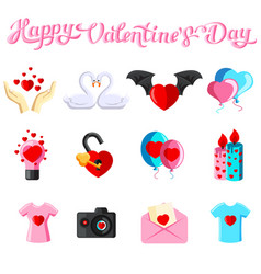 Flat with valentine s day iconss vector