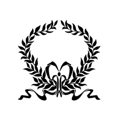 Foliate wreath with decorative bow vector