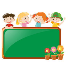 Frame design with kids and flowers vector