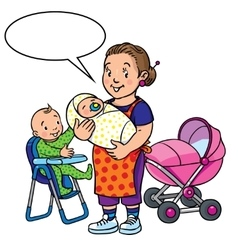 Funny mother or nanny with children vector