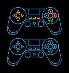 glowing joystick line icon color set vector image