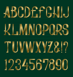 golden capital letters and numbers alphabet vector image