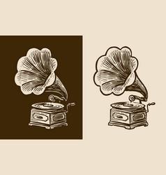 Gramophone sketch retro music nostalgia vintage vector